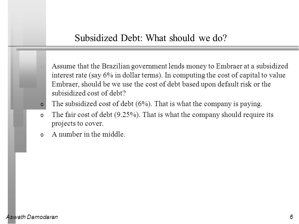 Subsidized Debt: What should we do