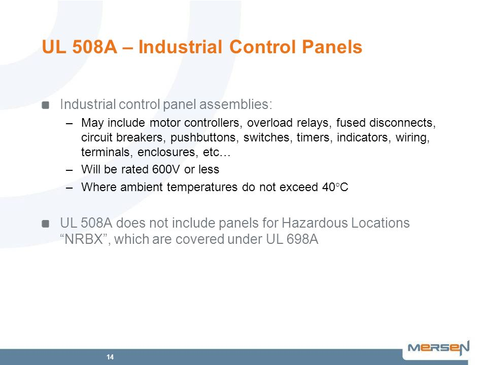 UL 508A – Industrial Control Panels