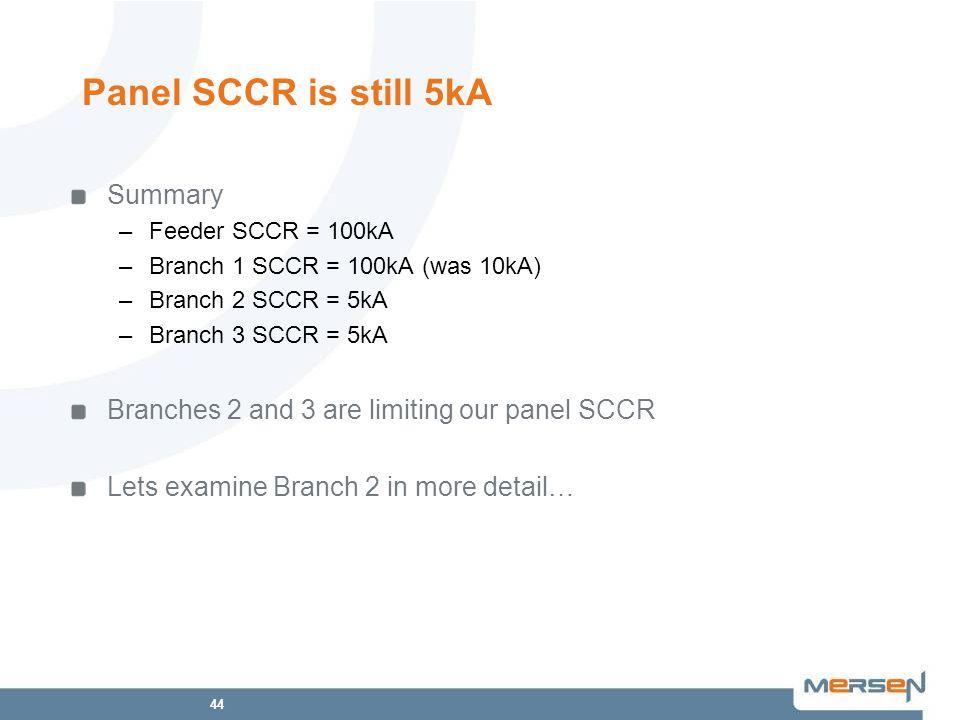 Panel SCCR is still 5kA Summary