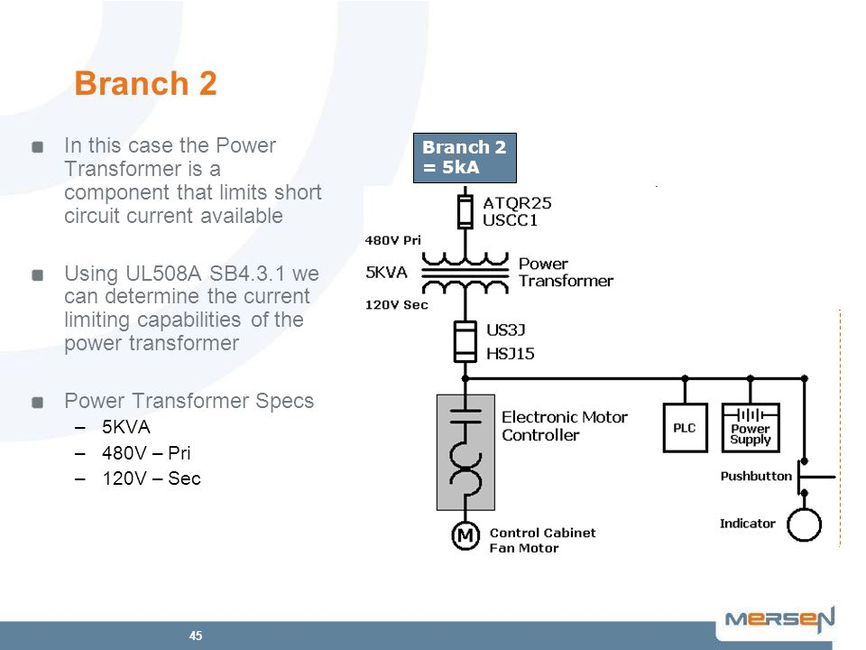 Branch 2 In this case the Power Transformer is a component that limits short circuit current available.