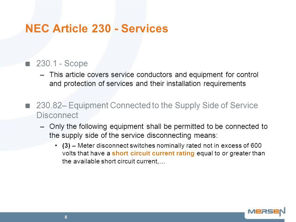NEC Article 230 - Services 230.1 - Scope