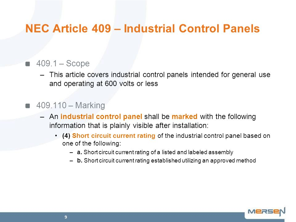 NEC Article 409 – Industrial Control Panels