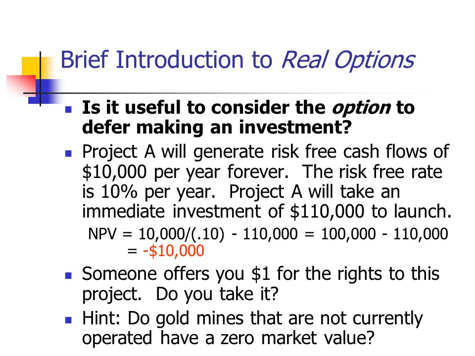 Brief Introduction to Real Options
