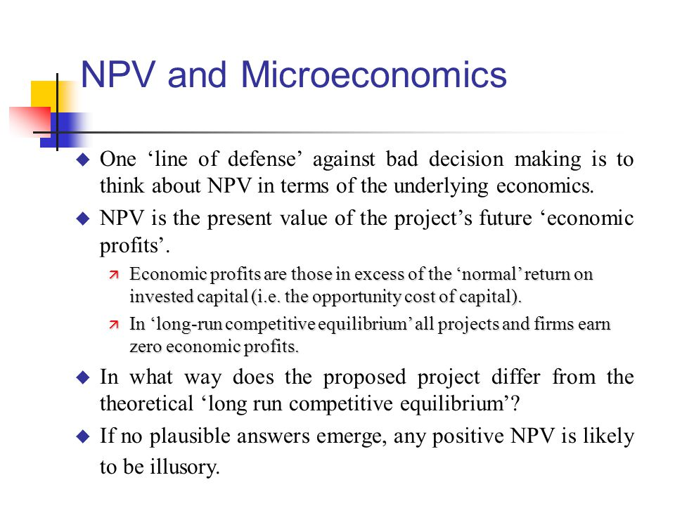 NPV and Microeconomics
