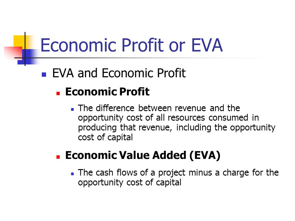 Economic Profit or EVA EVA and Economic Profit Economic Profit