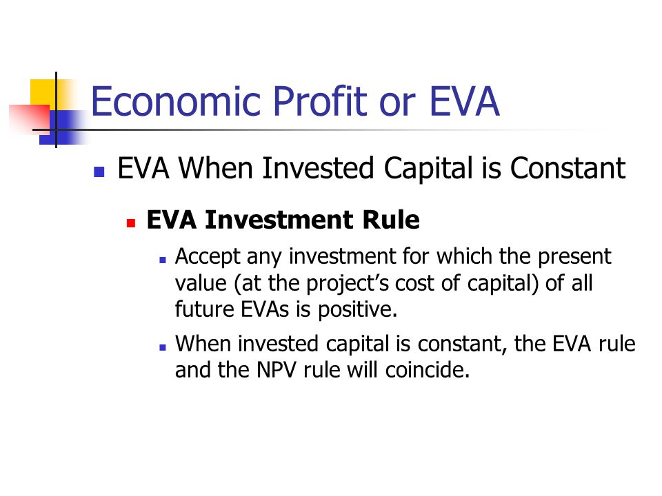Economic Profit or EVA EVA When Invested Capital is Constant
