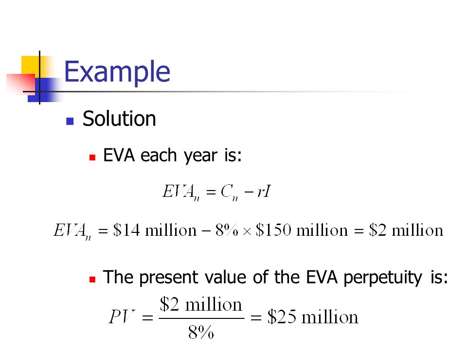 Example Solution EVA each year is: