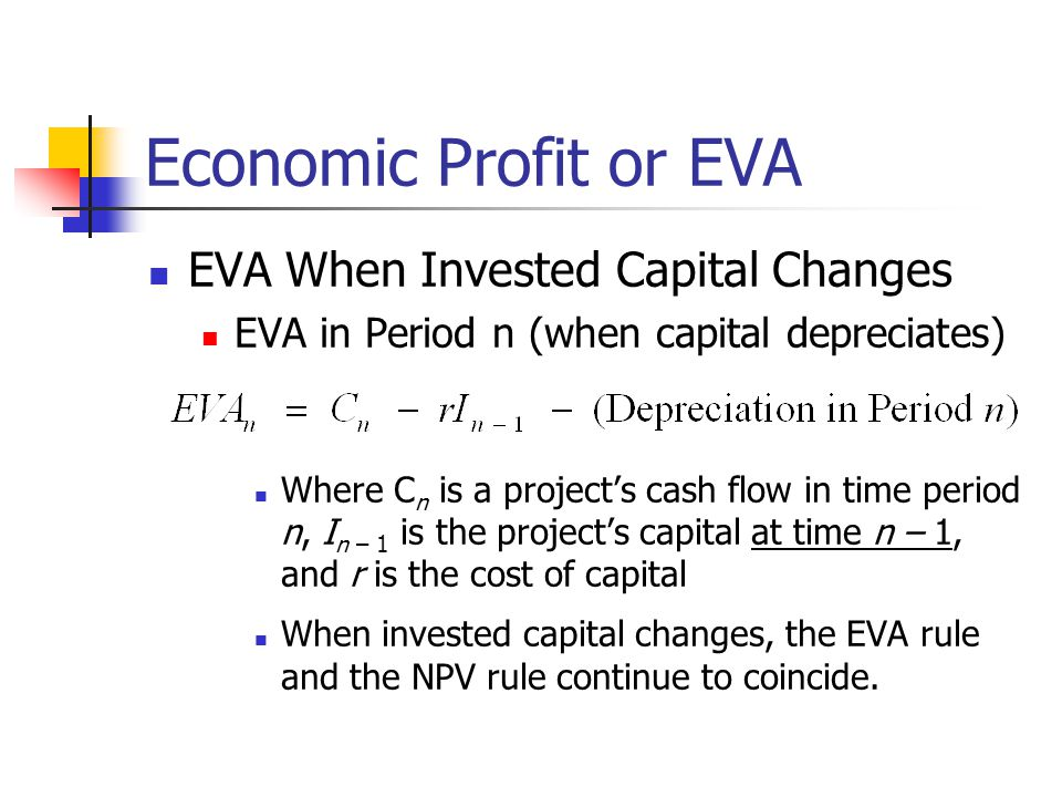 Economic Profit or EVA EVA When Invested Capital Changes