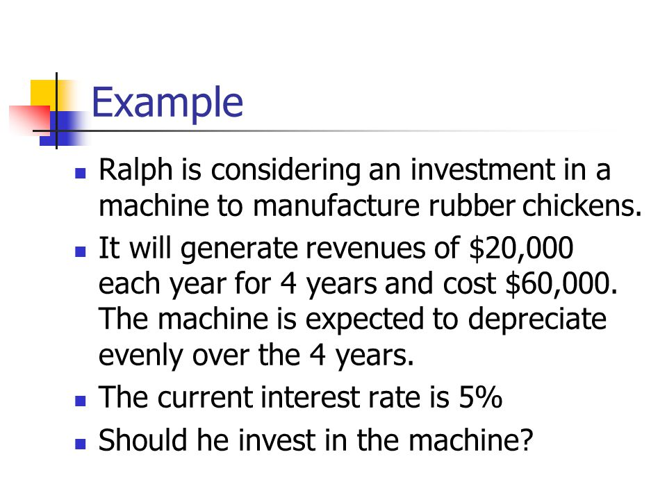 Example Ralph is considering an investment in a machine to manufacture rubber chickens.