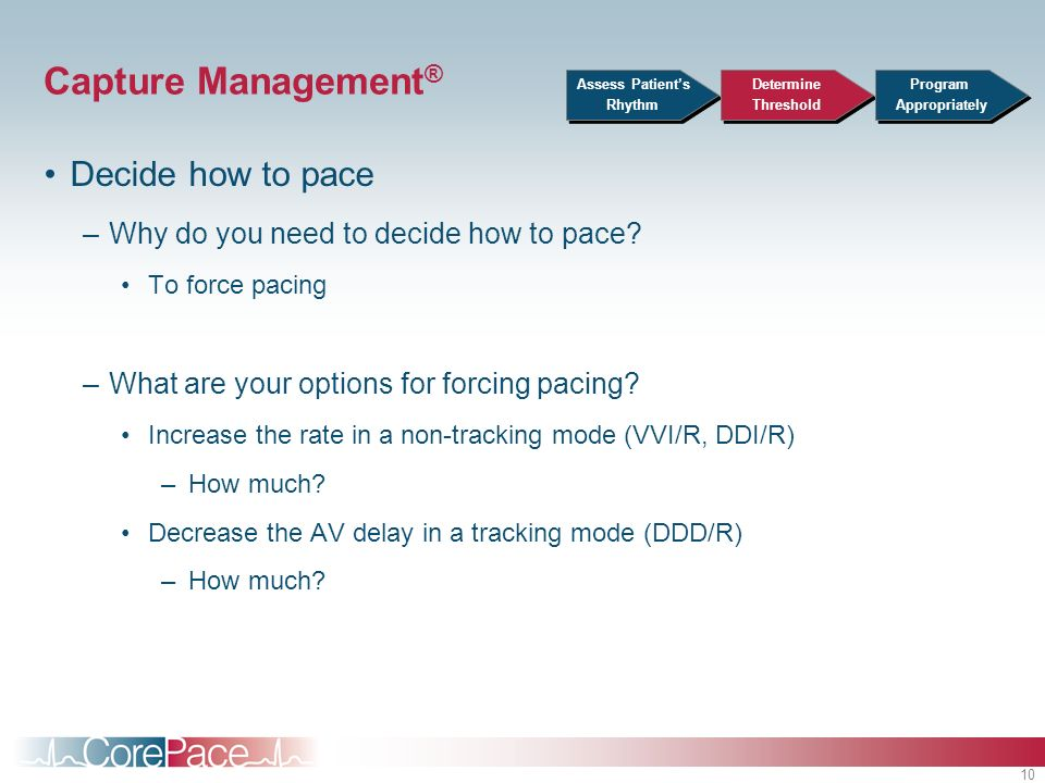 Capture Management® Decide how to pace
