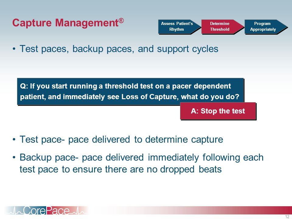 Capture Management® Test paces, backup paces, and support cycles