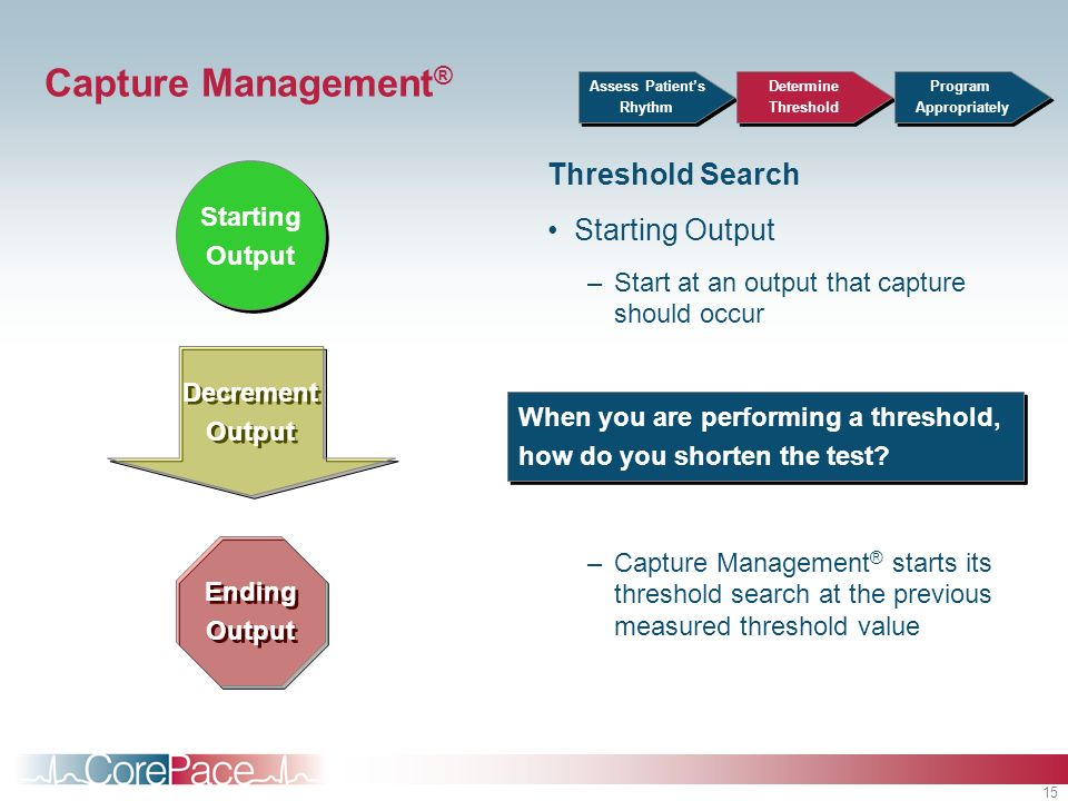 Capture Management® Threshold Search Starting Output Starting Output