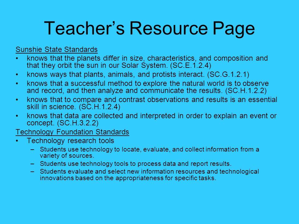 Teacher's Resource Page