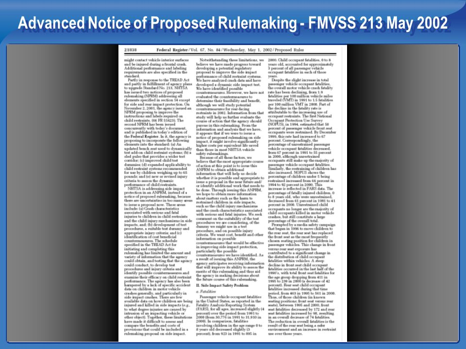 Advanced Notice of Proposed Rulemaking - FMVSS 213 May 2002