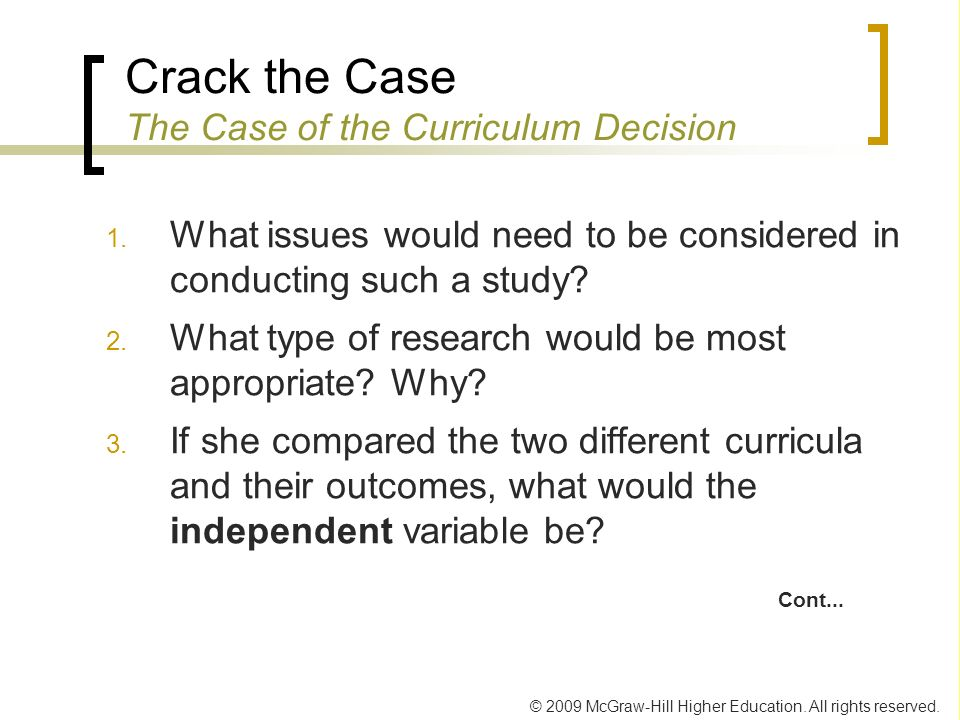 Crack the Case The Case of the Curriculum Decision