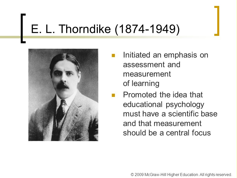 E. L. Thorndike ( ) Initiated an emphasis on assessment and measurement of learning.