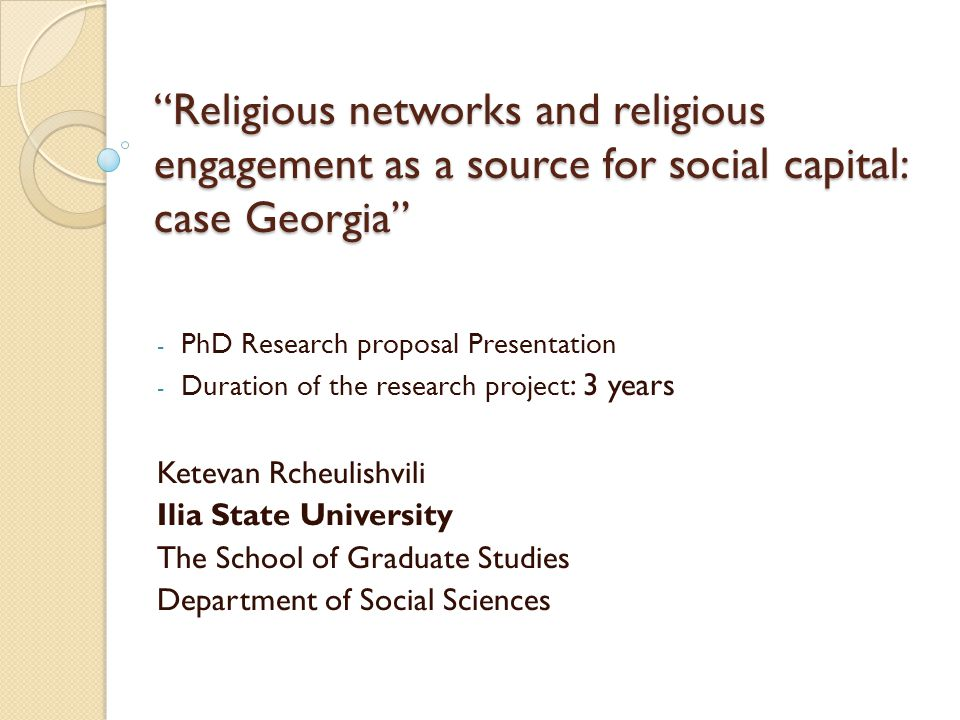 Religious networks and religious engagement as a source for social capital: case Georgia