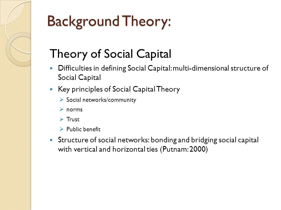 Background Theory: Theory of Social Capital
