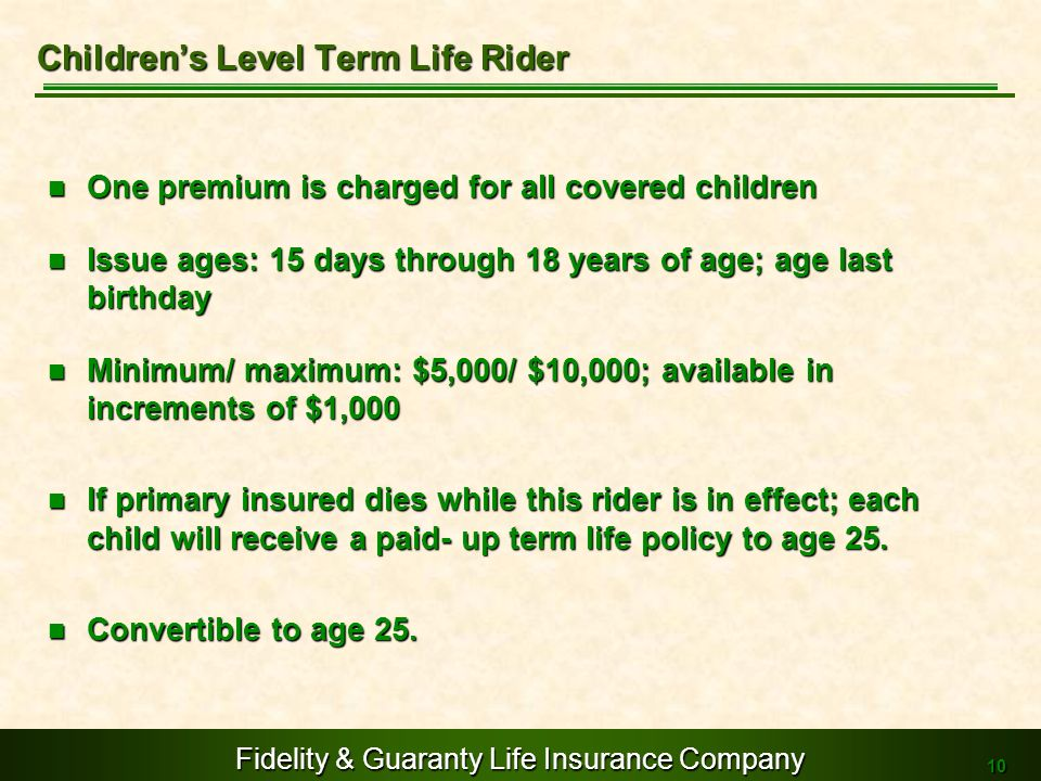 Children's Level Term Life Rider