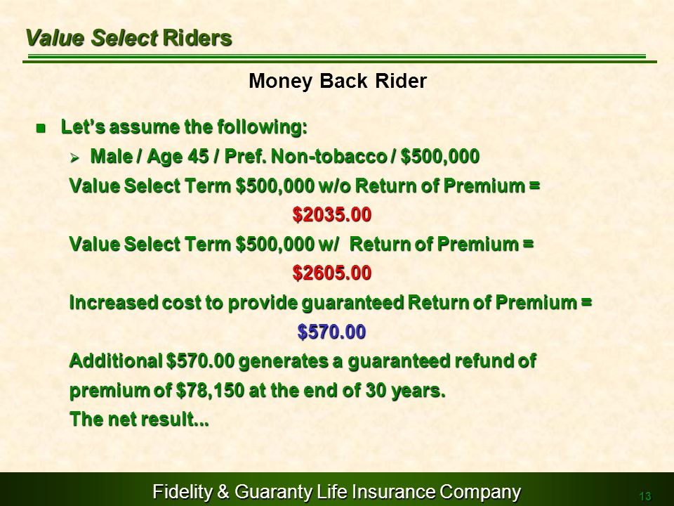 Value Select Riders Money Back Rider Let's assume the following: