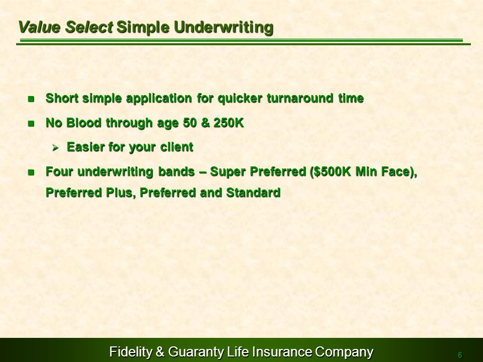 Value Select Simple Underwriting