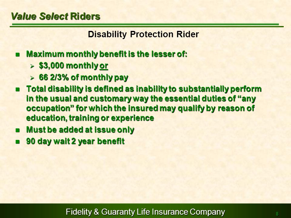 Value Select Riders Disability Protection Rider