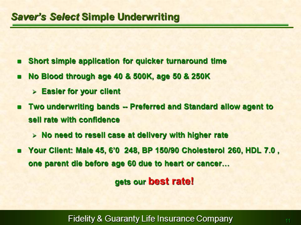 Saver's Select Simple Underwriting