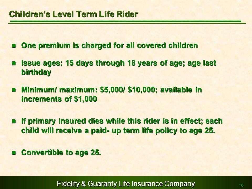 Children's Level Term Life Rider