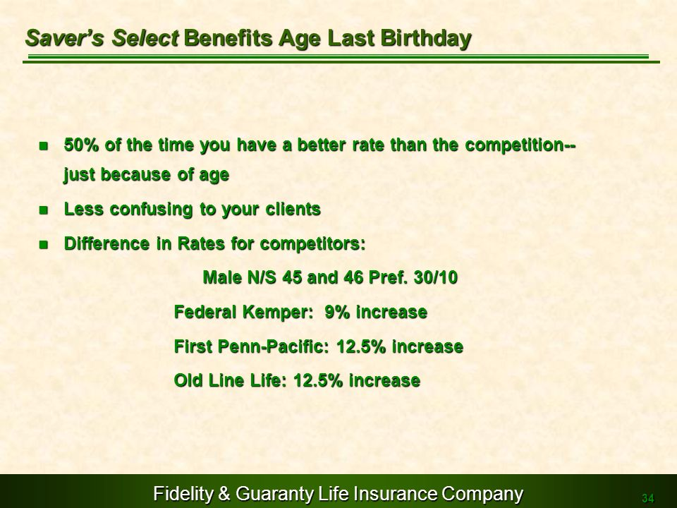 Saver's Select Benefits Age Last Birthday