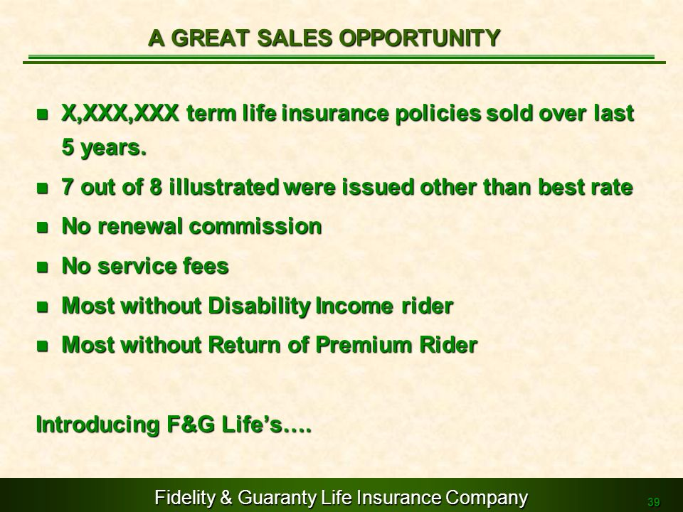 A GREAT SALES OPPORTUNITY