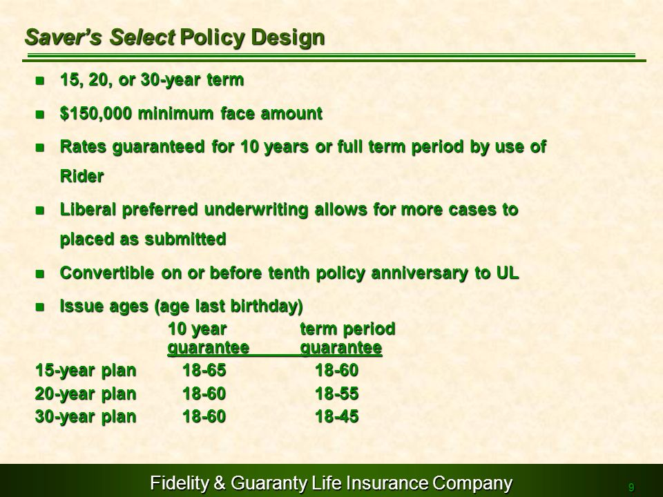 Saver's Select Policy Design