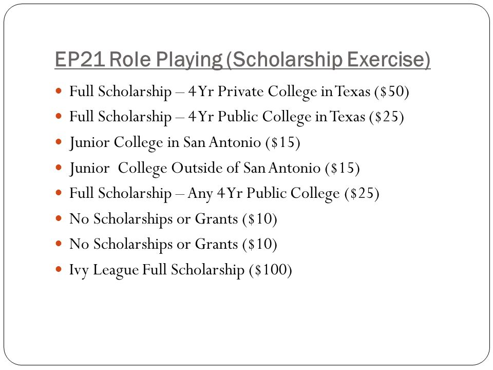 EP21 Role Playing (Scholarship Exercise)