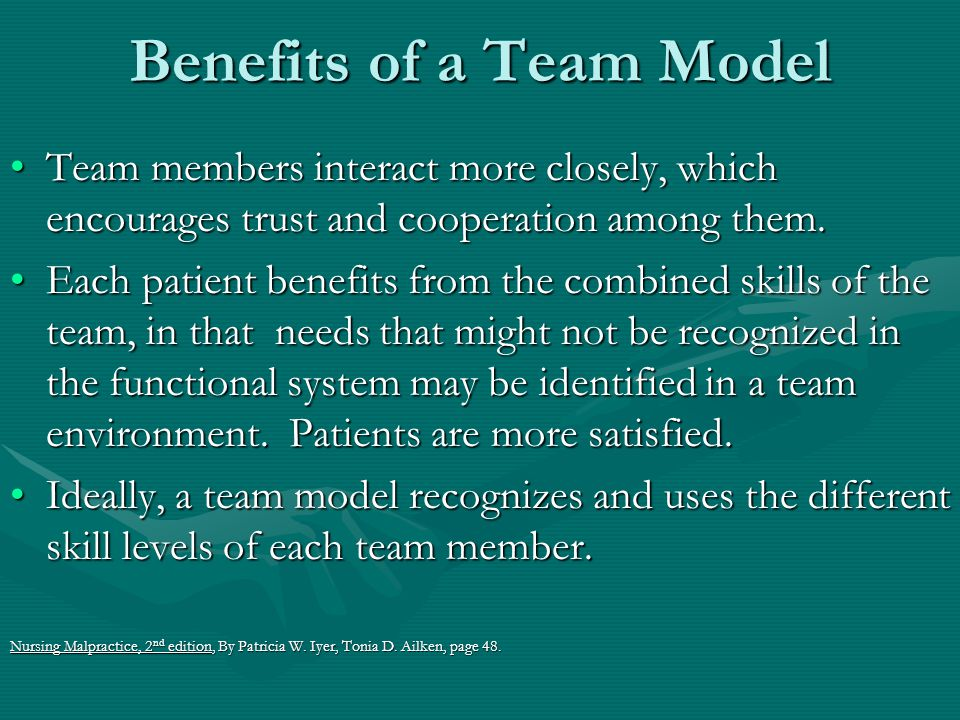 Benefits of a Team Model