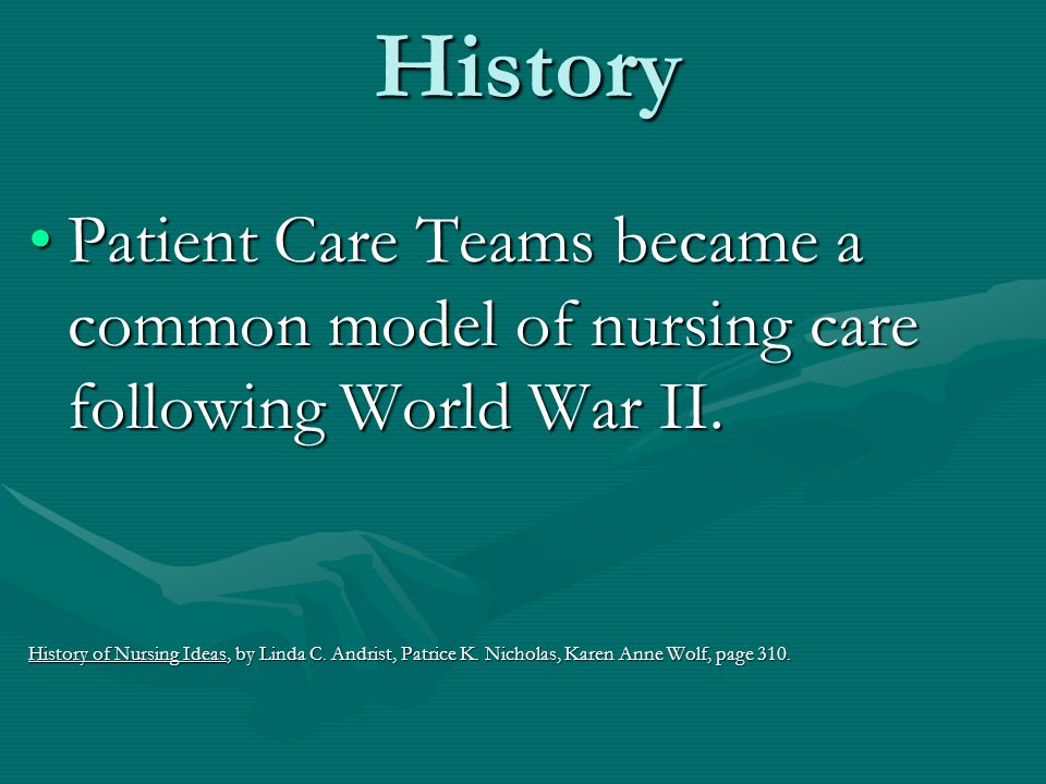 History Patient Care Teams became a common model of nursing care following World War II.