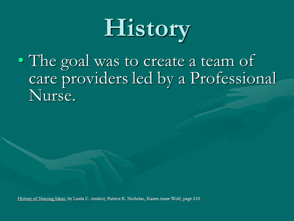 History The goal was to create a team of care providers led by a Professional Nurse.
