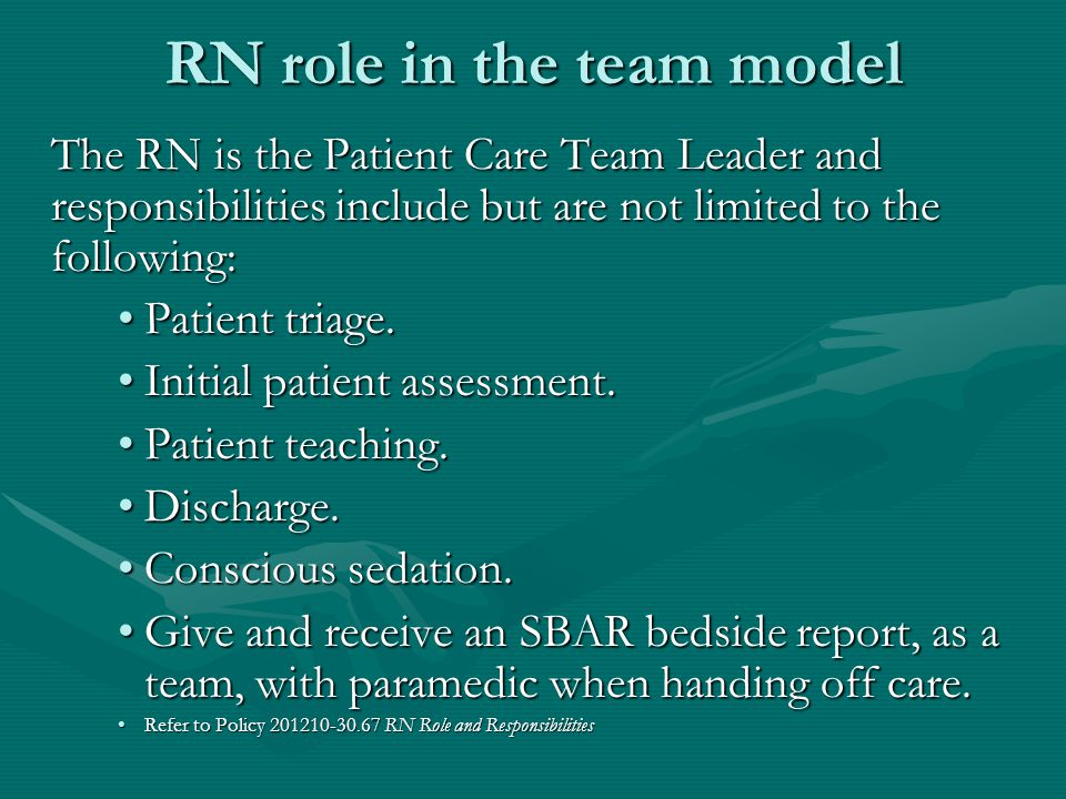 RN role in the team model