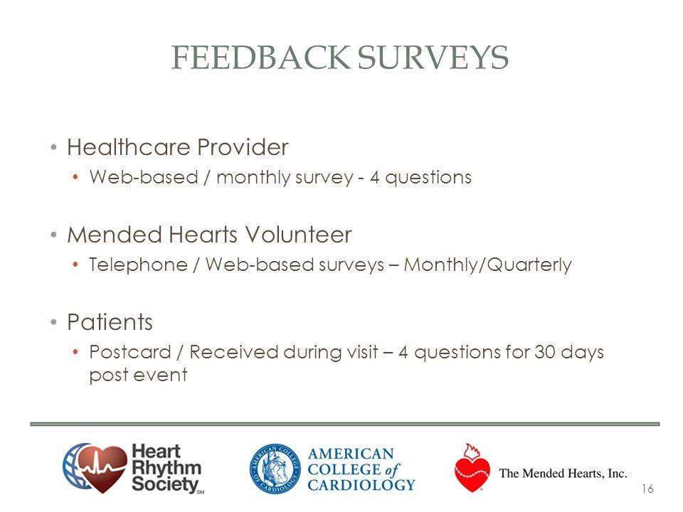 Feedback surveys Healthcare Provider Mended Hearts Volunteer Patients