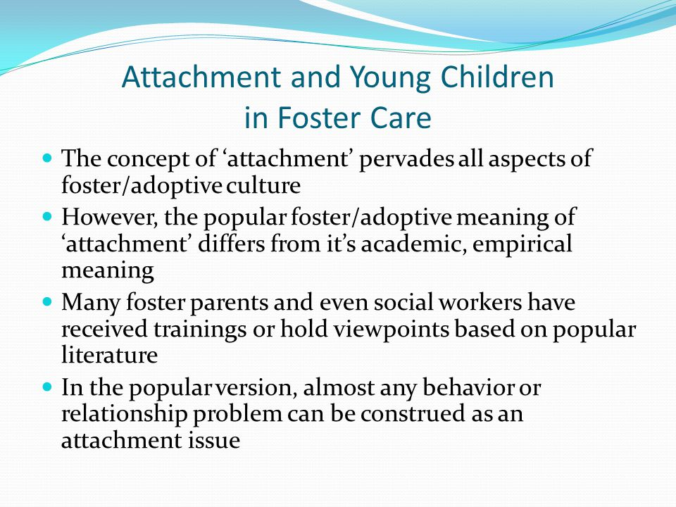 Attachment and Young Children in Foster Care