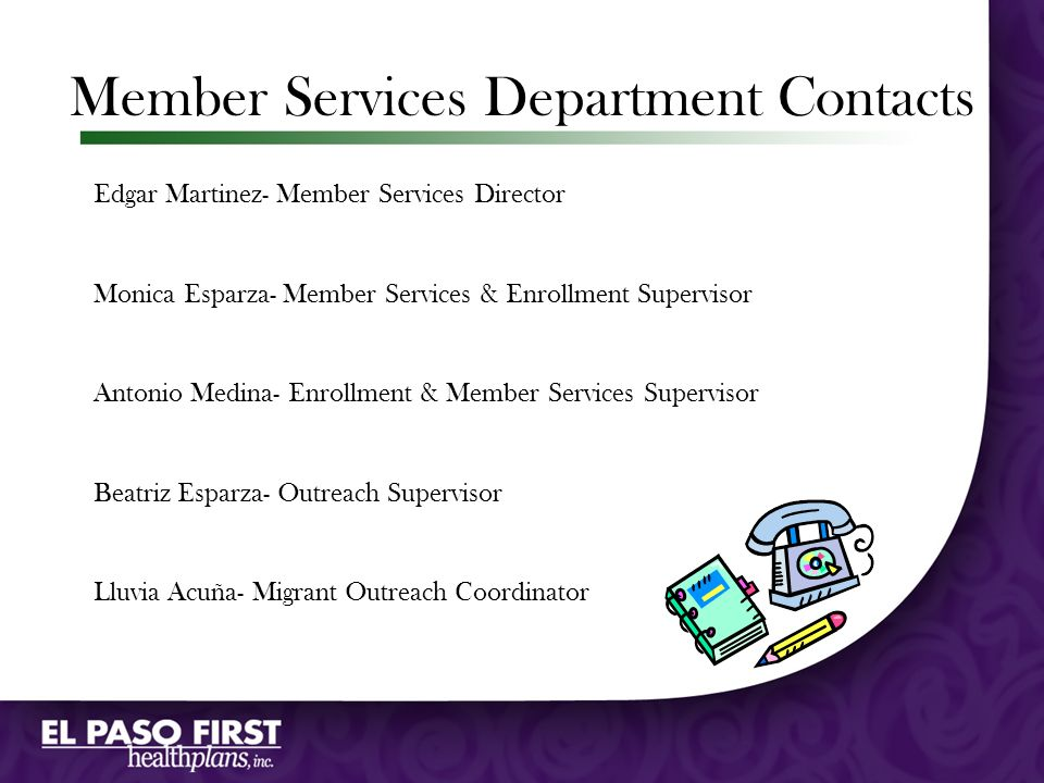 Member Services Department Contacts
