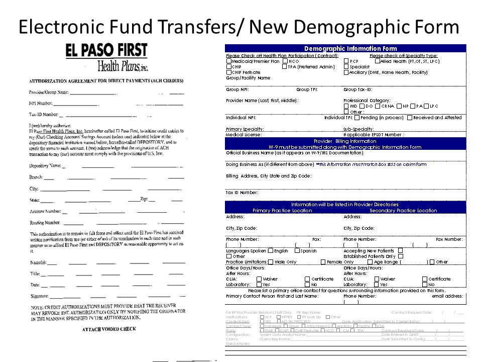 Electronic Fund Transfers/ New Demographic Form
