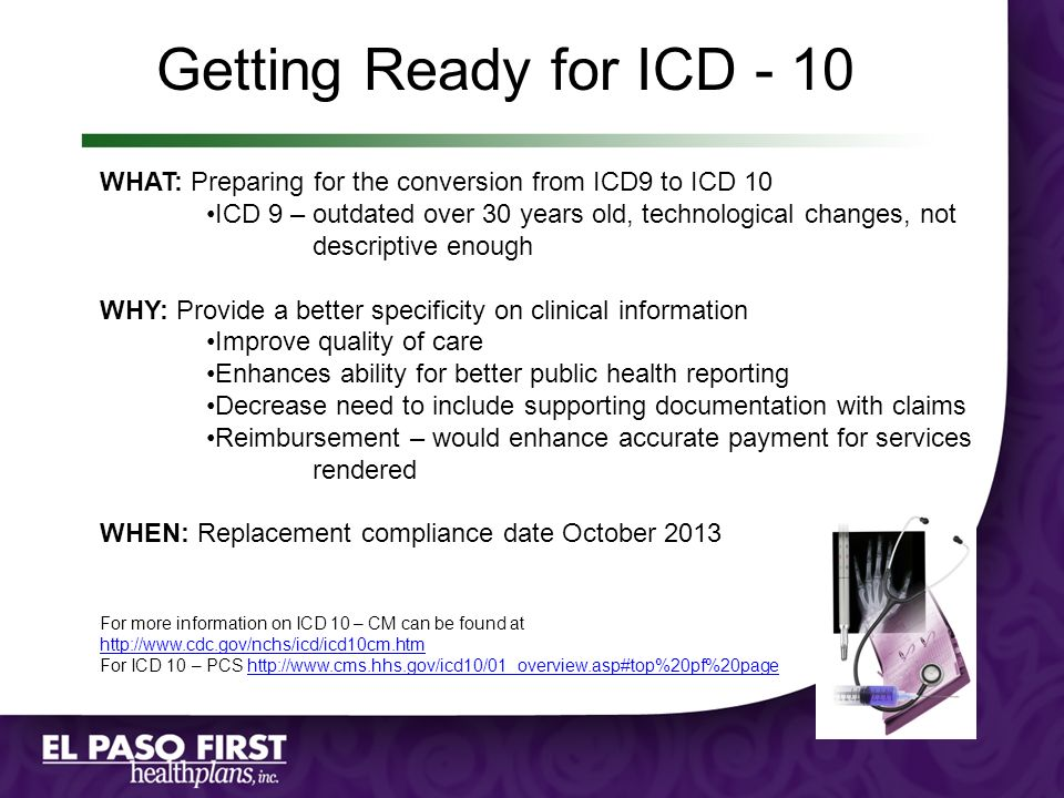 Getting Ready for ICD - 10 WHAT: Preparing for the conversion from ICD9 to ICD 10.