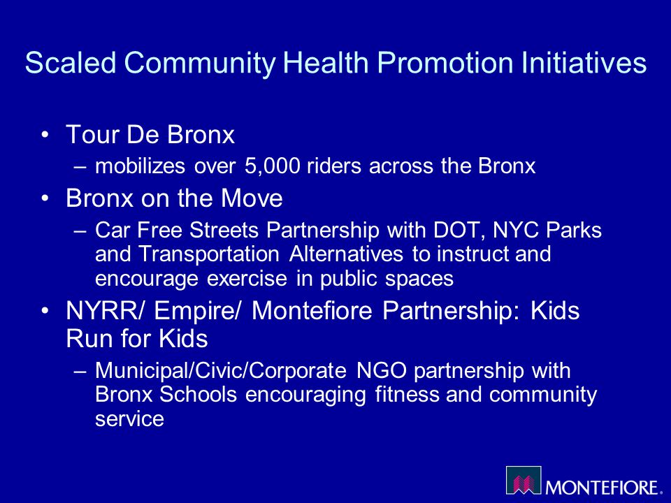Scaled Community Health Promotion Initiatives