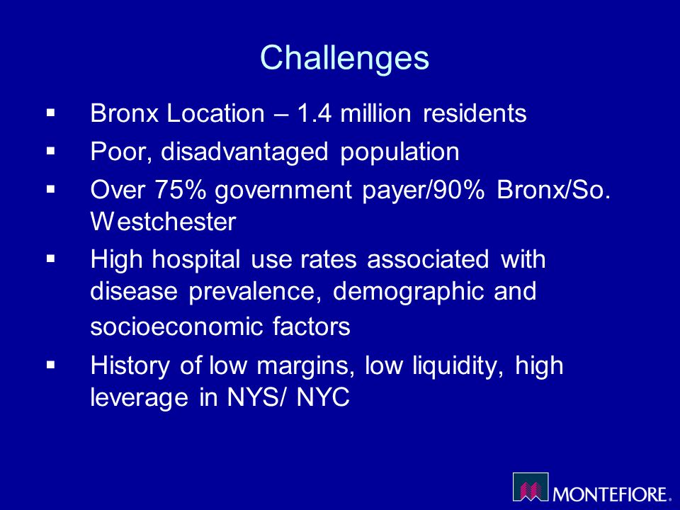 Challenges Bronx Location – 1.4 million residents