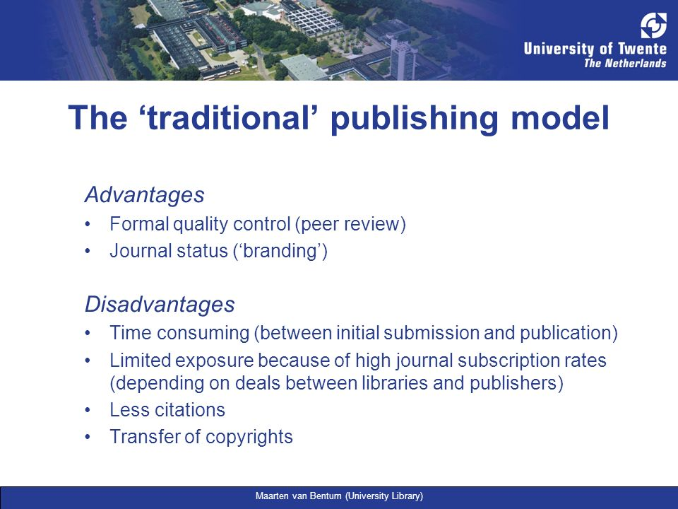 The 'traditional' publishing model