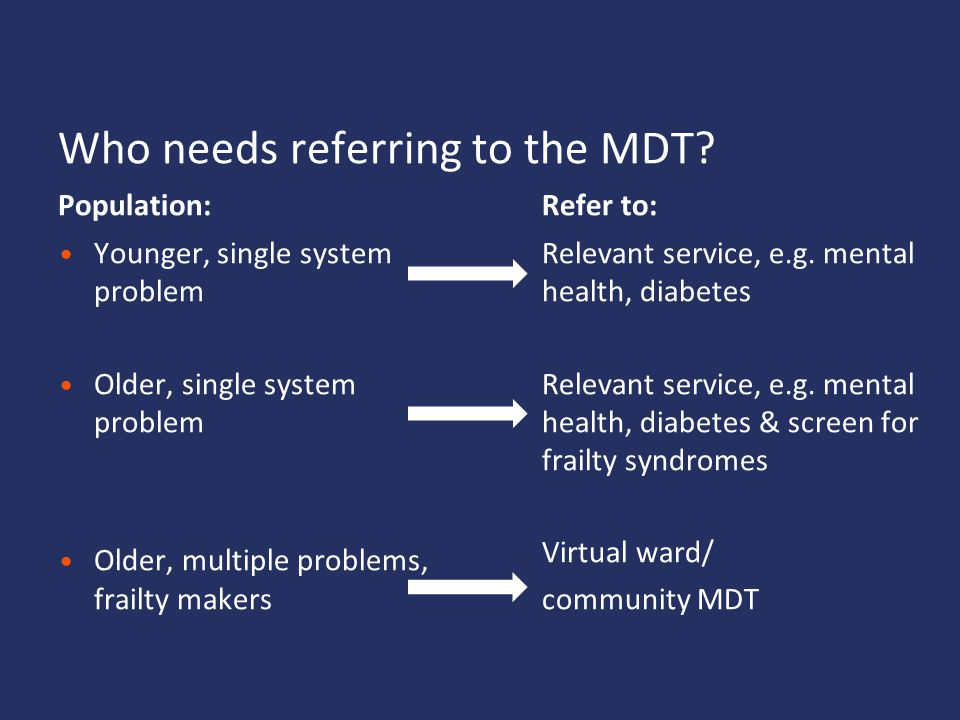 Who needs referring to the MDT