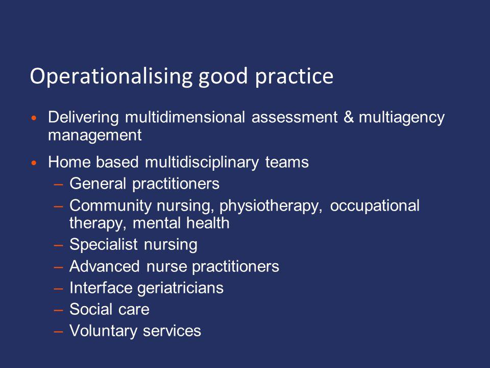 Operationalising good practice