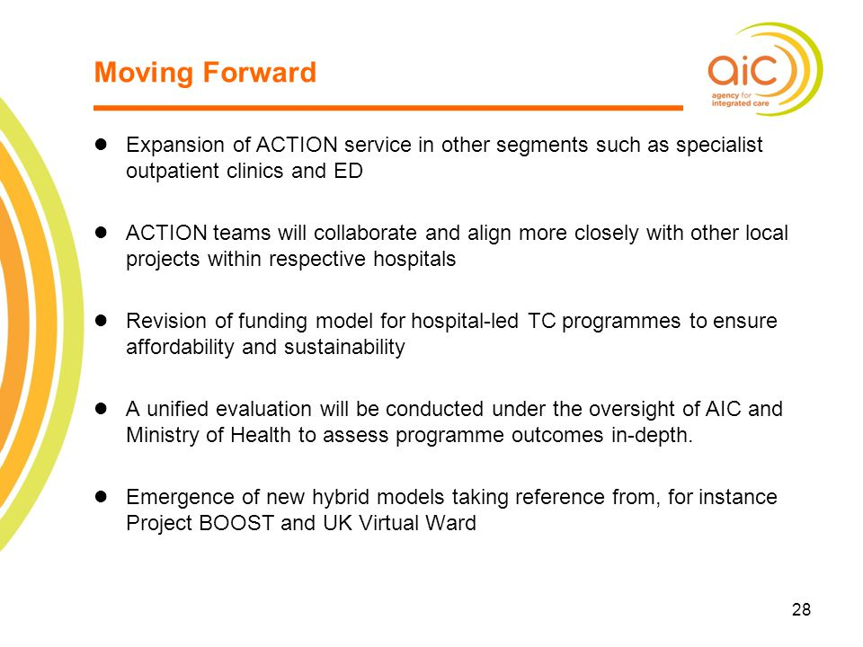 Moving Forward Expansion of ACTION service in other segments such as specialist outpatient clinics and ED.