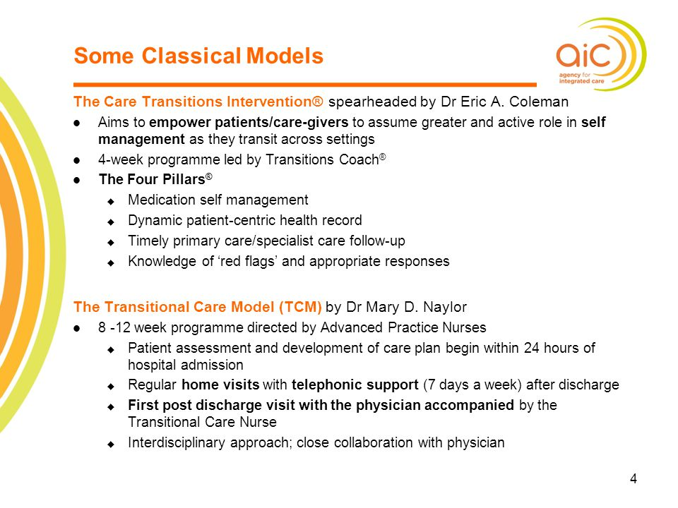Some Classical Models The Care Transitions Intervention® spearheaded by Dr Eric A. Coleman.