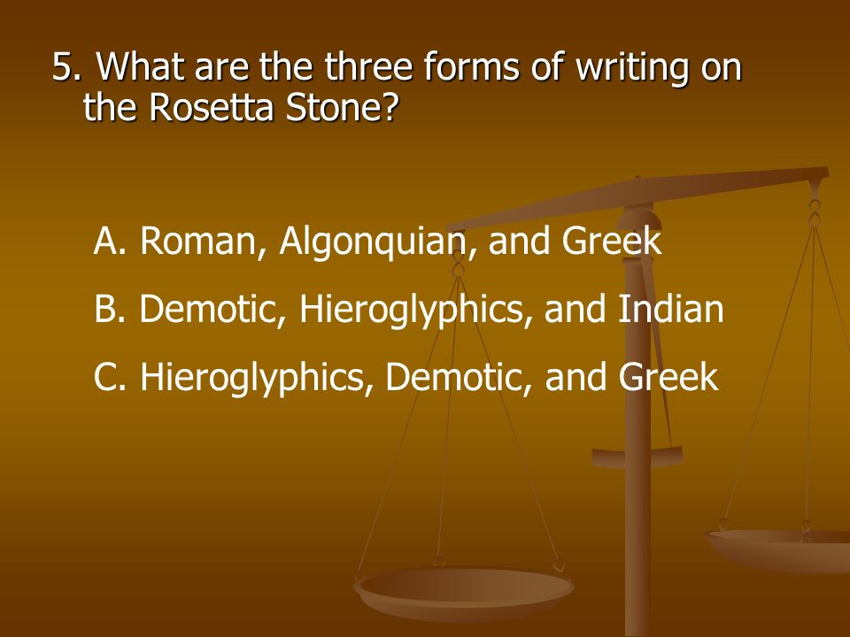 5. What are the three forms of writing on the Rosetta Stone