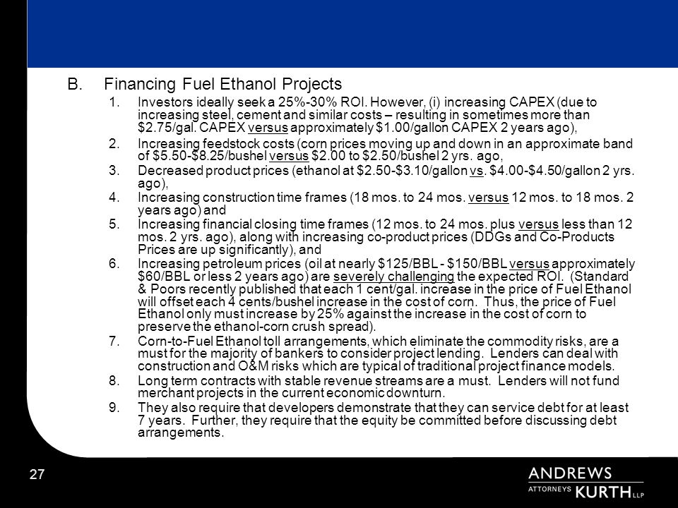 Financing Fuel Ethanol Projects